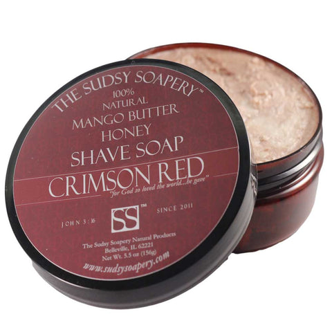 Mango Butter Shave Soap for Shaving, Crimson Red™ with Honey and Rose Clay