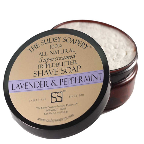 Supercreamed Triple Butter Shave Soap for Shaving, Lavender and Peppermint
