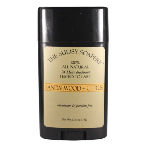Sudsy Soapery Natural Sandalwood and Citrus Stick Deodorant, Aluminum and Paraben Free, 2.75 oz (78g)