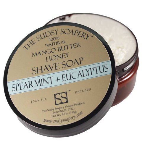 Supercreamed Mango Butter Shave Soap for Shaving, Spearmint and Eucalyptus with Honey