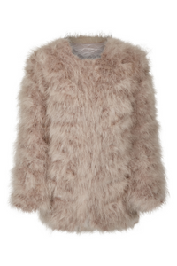 Fluff Jacket Long Taupe
