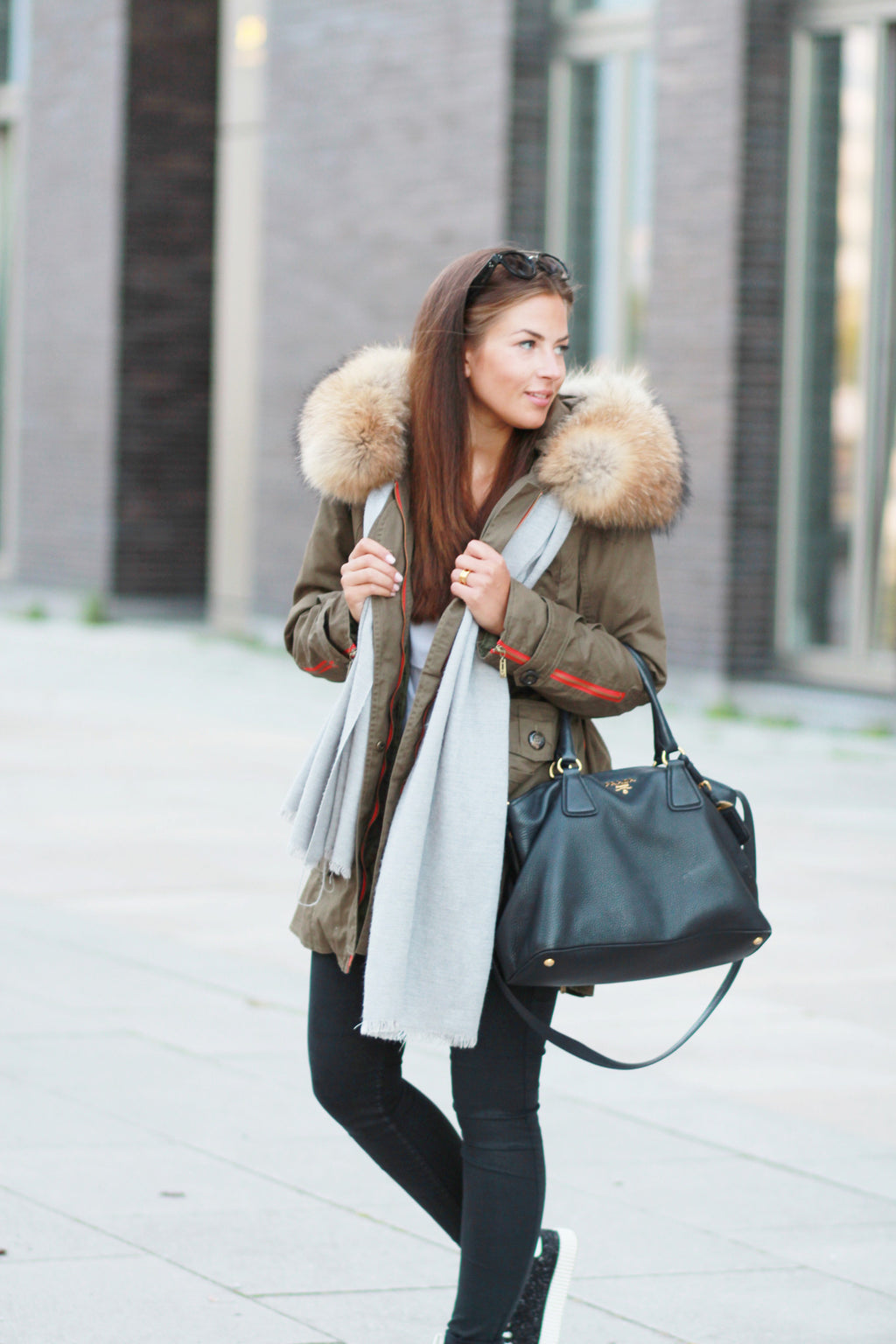 Contrast Army Parka