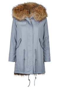 Long Luxury Fox Parka Grey