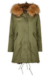 Long Luxury Fox Parka Olive