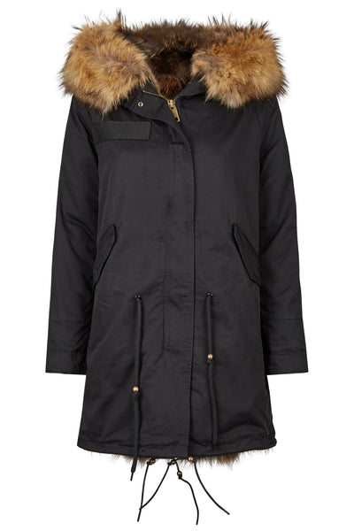 Long Luxury Fox Parka 2.0 Black