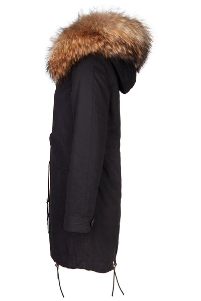 Long Luxury Rabbit Parka Black