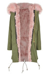 Candy Color Luxury Rabbit Parka Olive Flamingo