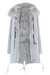 Candy Color Luxury Rabbit Parka Grey