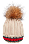 Contrast Beanie Fur Pom (5 Colors)