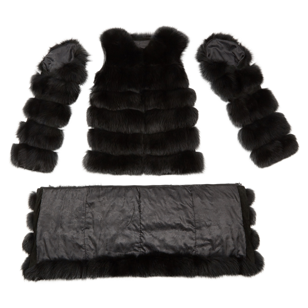 Detachable Fox Coat 'Donna' Deep Black