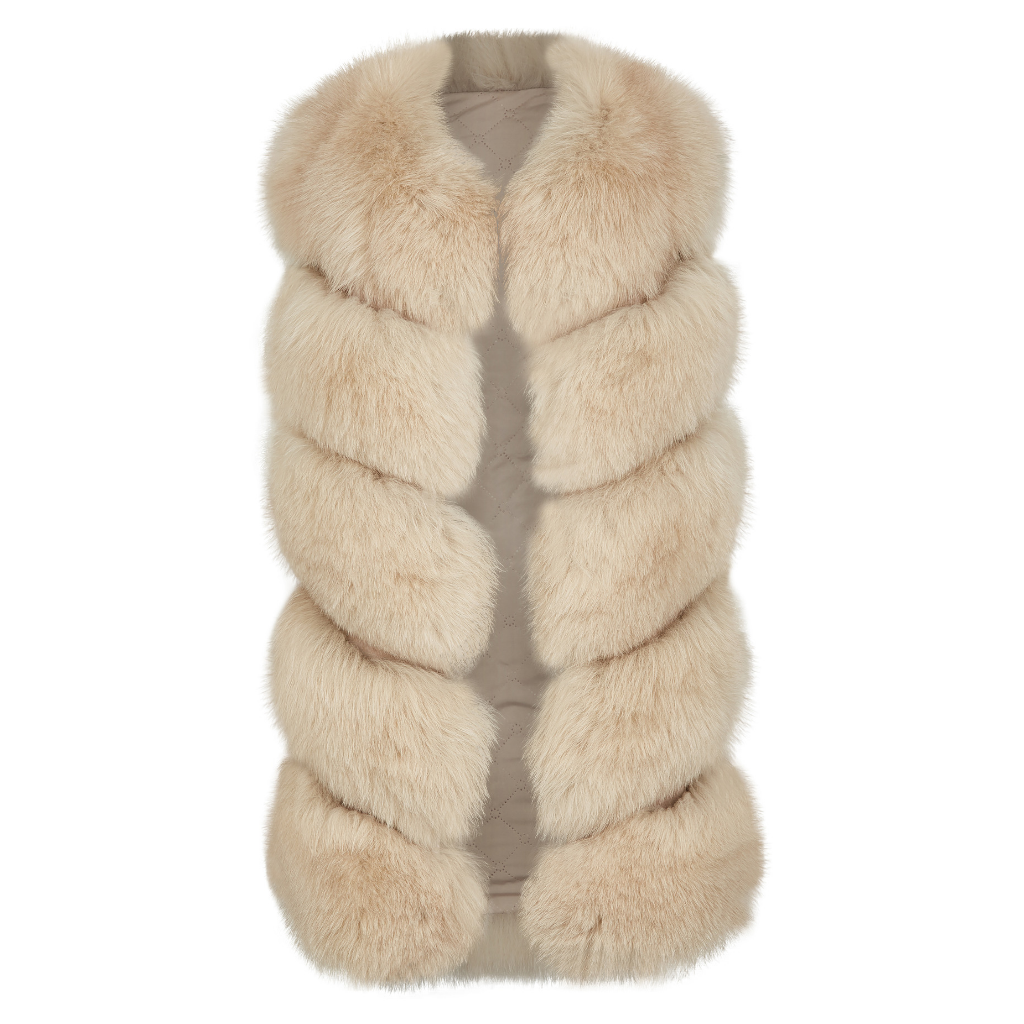 Luxury Fox Vest Beige