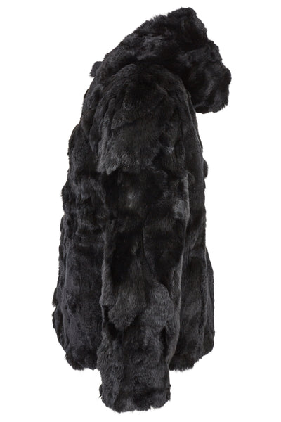 Fur Hooded Jacket 'Rachel' Black