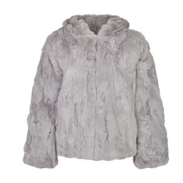 Fur Hooded Jacket 'Rachel' Grey