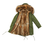 Long Luxury Rabbit Parka Olive