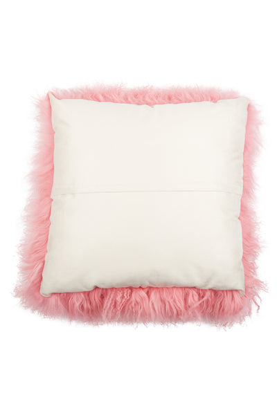 Mongolian Lamb Pillow Cover Rose