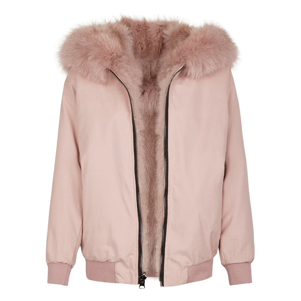 Reversible Fox Jacket Nicki Pale Pink