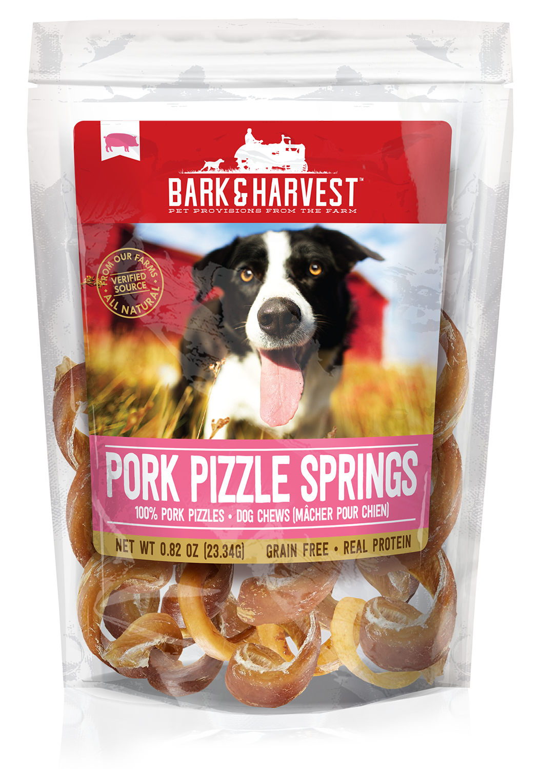 Bark and Harvest Pork Pizzle Springs 5 count bag