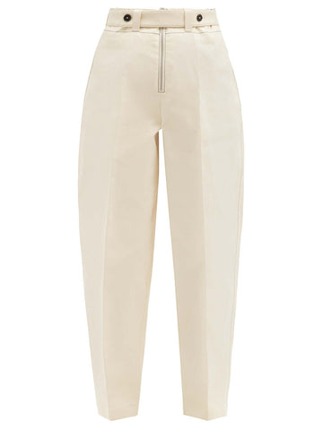 High-rise topstitched cotton trousers