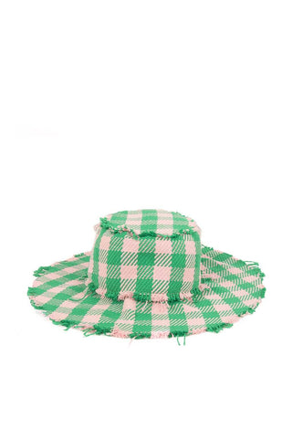 Green and pink bucket hat