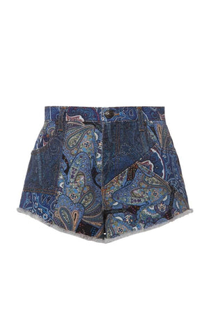 Patchwork Paisley Denim Shorts