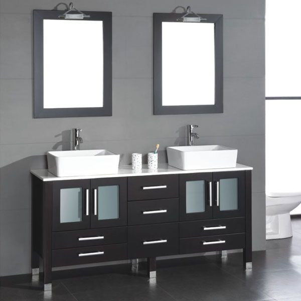 71 Inch Solid Wood Bathroom Vanity Is Competed With A White Porcelain Counter Top And Two Matching White Vessel Sinks Two Faucets Two Mirrors