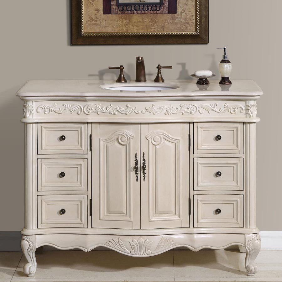 "Bathroom Vanities Brands silkroad exclusive ella 48"" single bathroom vanity set - the"
