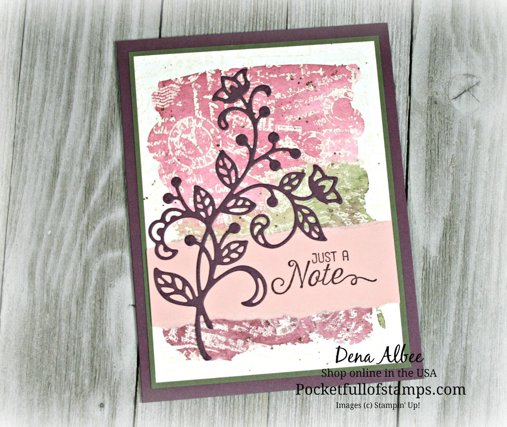 Card Quickie Video Tutorial - Just a Note Watercolor Emboss Resist