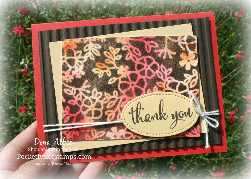 Stenciled Brusho Background with Card Quickie Video!