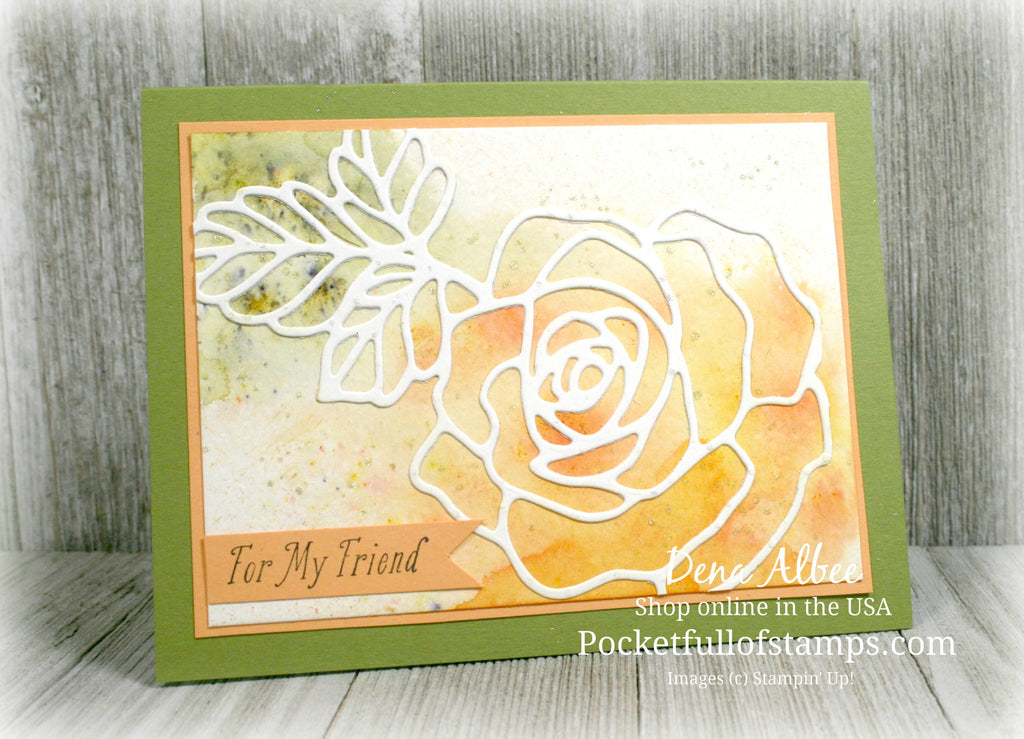 Card Quickie Video - Rose Garden Thinlits with Brusho Crystal Colour