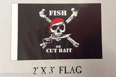 Fish Or Cut Bait Pirate flag scuba dive equip novelty mothers day GIFT FUN 2x3 - Sundance Survival Supply