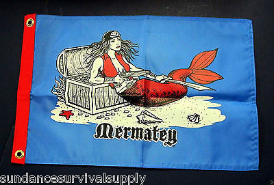 Mermatey pirate flag scuba dive equip novelty mothers day GIFT FUN 12x18 mermaid - Sundance Survival Supply