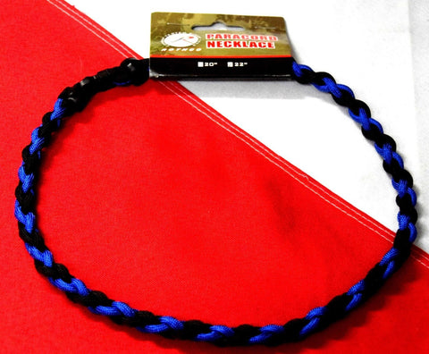 "Paracord survival necklace 22"" tactical camp prepping prepper disaster hike Blue - Sundance Survival Supply - 1"