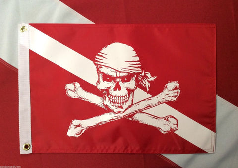 "Diver Down pirate flag scuba dive equip novelty boat atv spearfish #520  12x18"" - Sundance Survival Supply"
