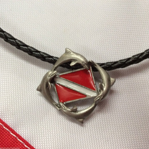 "Dolphin dive flag 18"" necklace pewter scuba diving gifts surfing novelty scuba - Sundance Survival Supply"