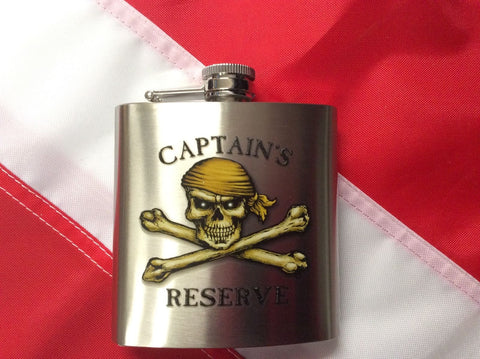 Flask, Captains Reserve 6oz  pirate fun novelty gift teacher back to school item - Sundance Survival Supply