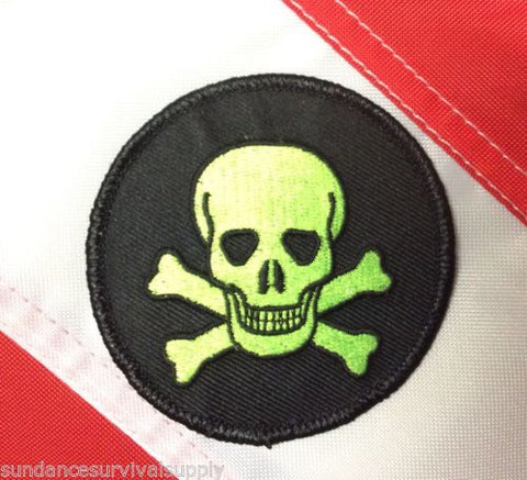 Green skull on black circle patch survival tactical military fun gift novelty 451