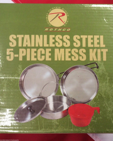 Mess Kit 5pc camping hunting survival tactical gear Rothco disaster emergency SS