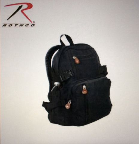 Canvas mini backpack vintage style survival tactical military emergency Rothco Black