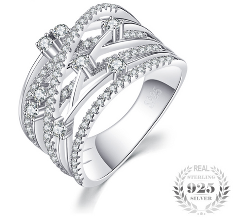 Luxurious Round Wide Band Cocktail Ring 925 Sterling Silver
