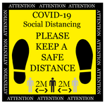 COVID 19 12INX12IN FLOOR SIGN