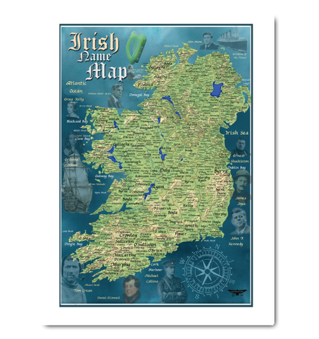 Irish Historical Surname Canvas Map