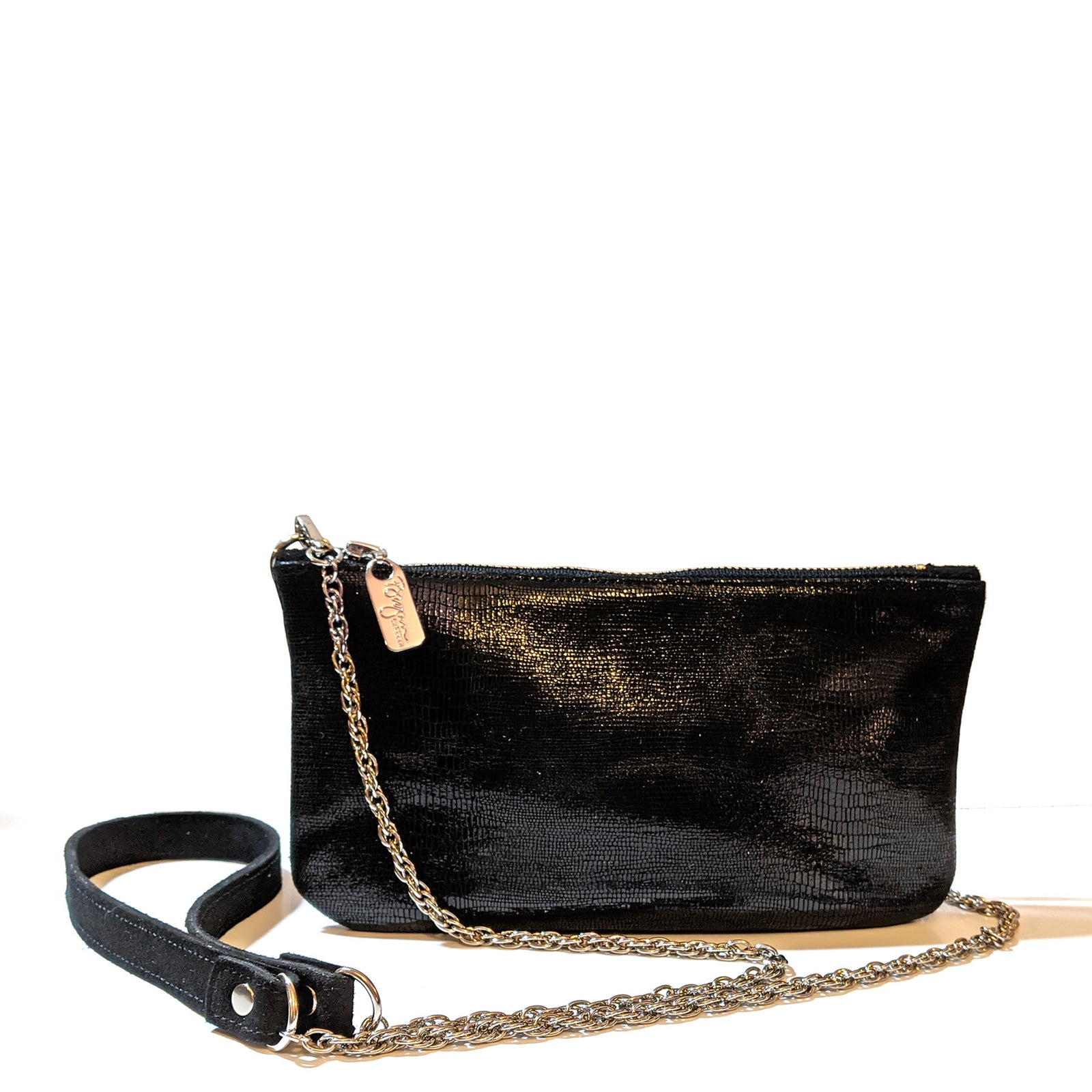 Mini Chain Crossbody in Black Lazard, Made in the USA