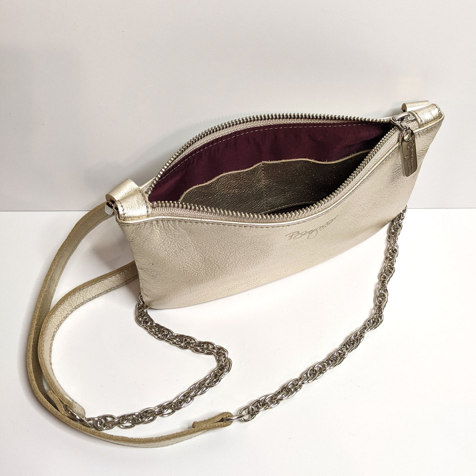 Mini Champagne Metallic Leather Crossbody, Made in the USA by Brynn Capella