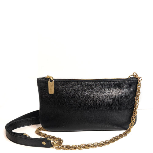 Mini Black Metallic Leather Crossbody, Made in the USA by Brynn Capella