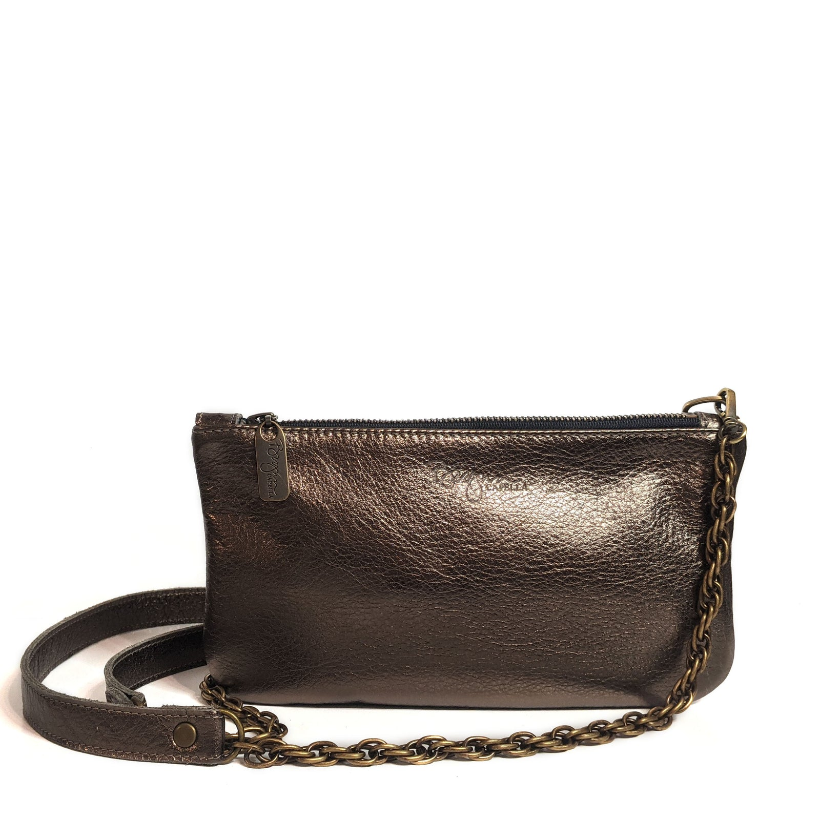Mini Pewter Metallic Leather Crossbody, Made in the USA by Brynn Capella