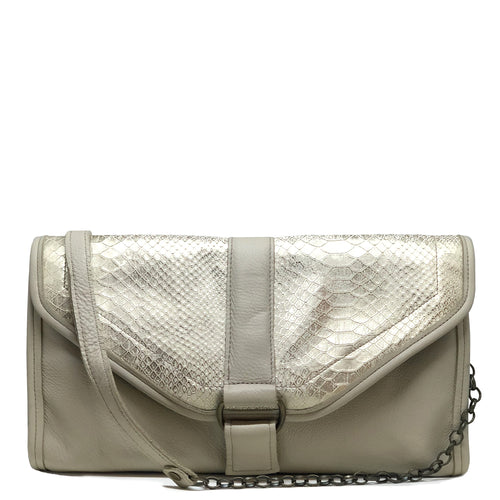 Heather Oversized Clutch - Silvery Vanilla Snakeskin - Brynn Capella, Oversized Clutch