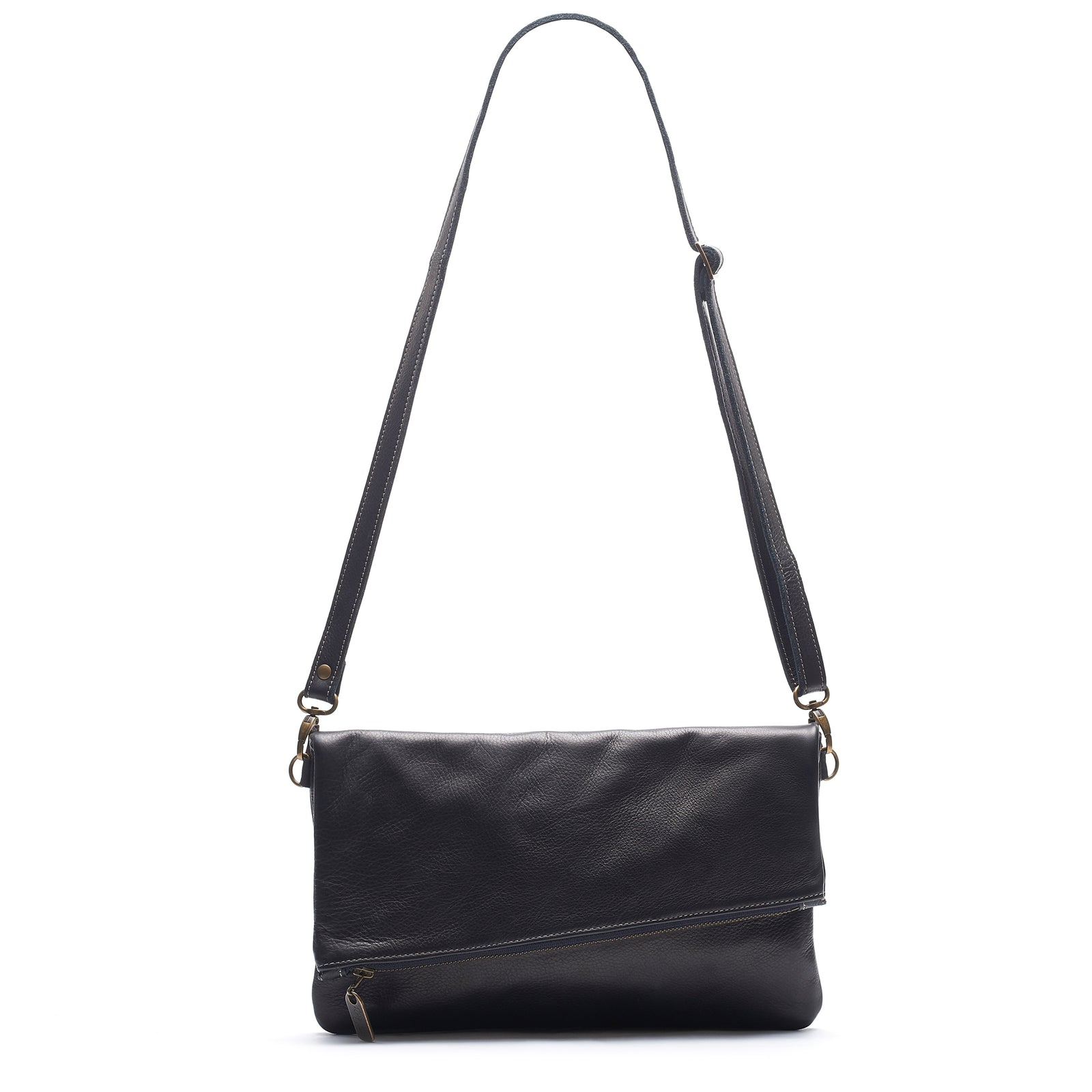 Jenne Foldover Crossbody - Black Sand - Brynn Capella, Clutch