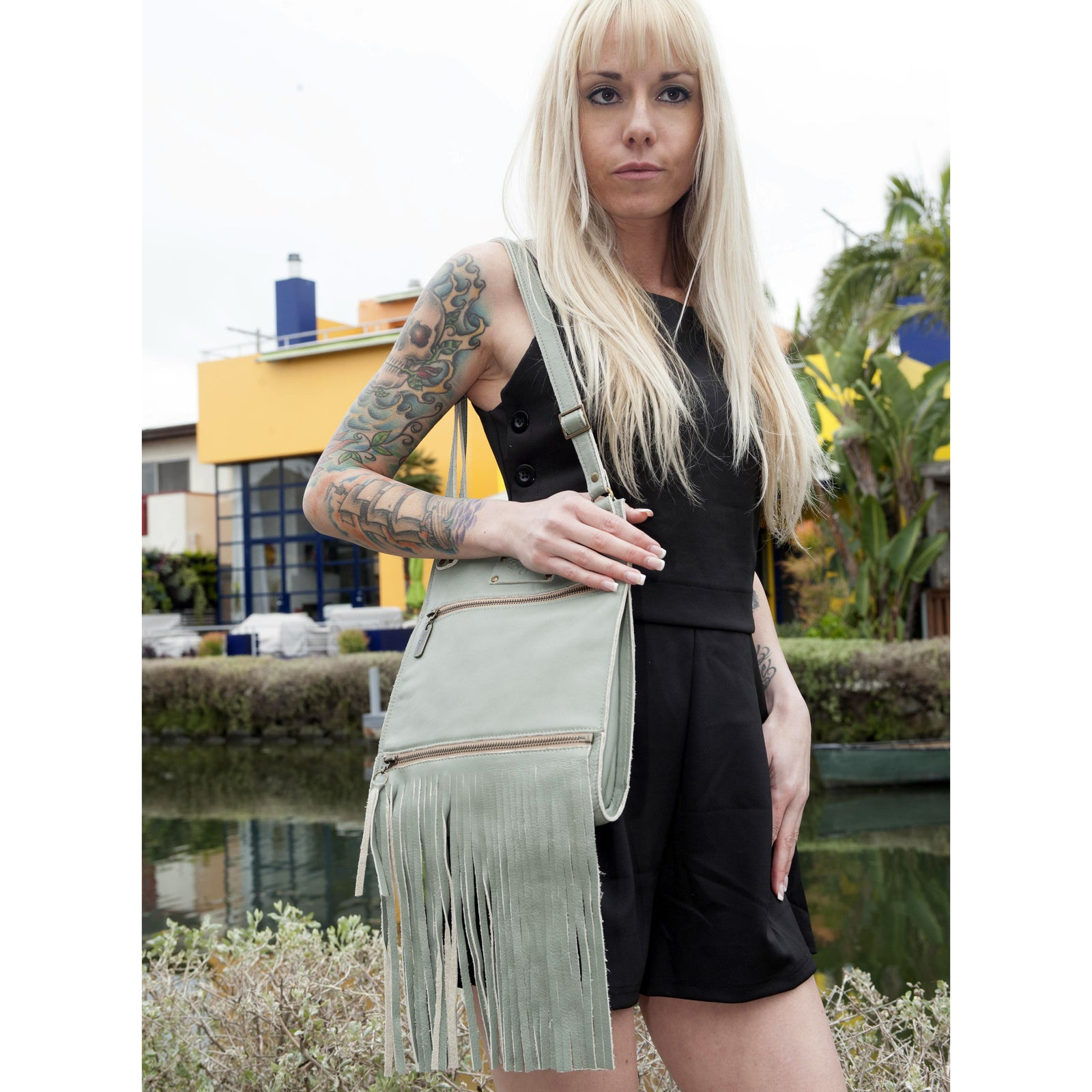 Kari Fringe Crossbody - Sea Breeze - Brynn Capella, Small Crossbody