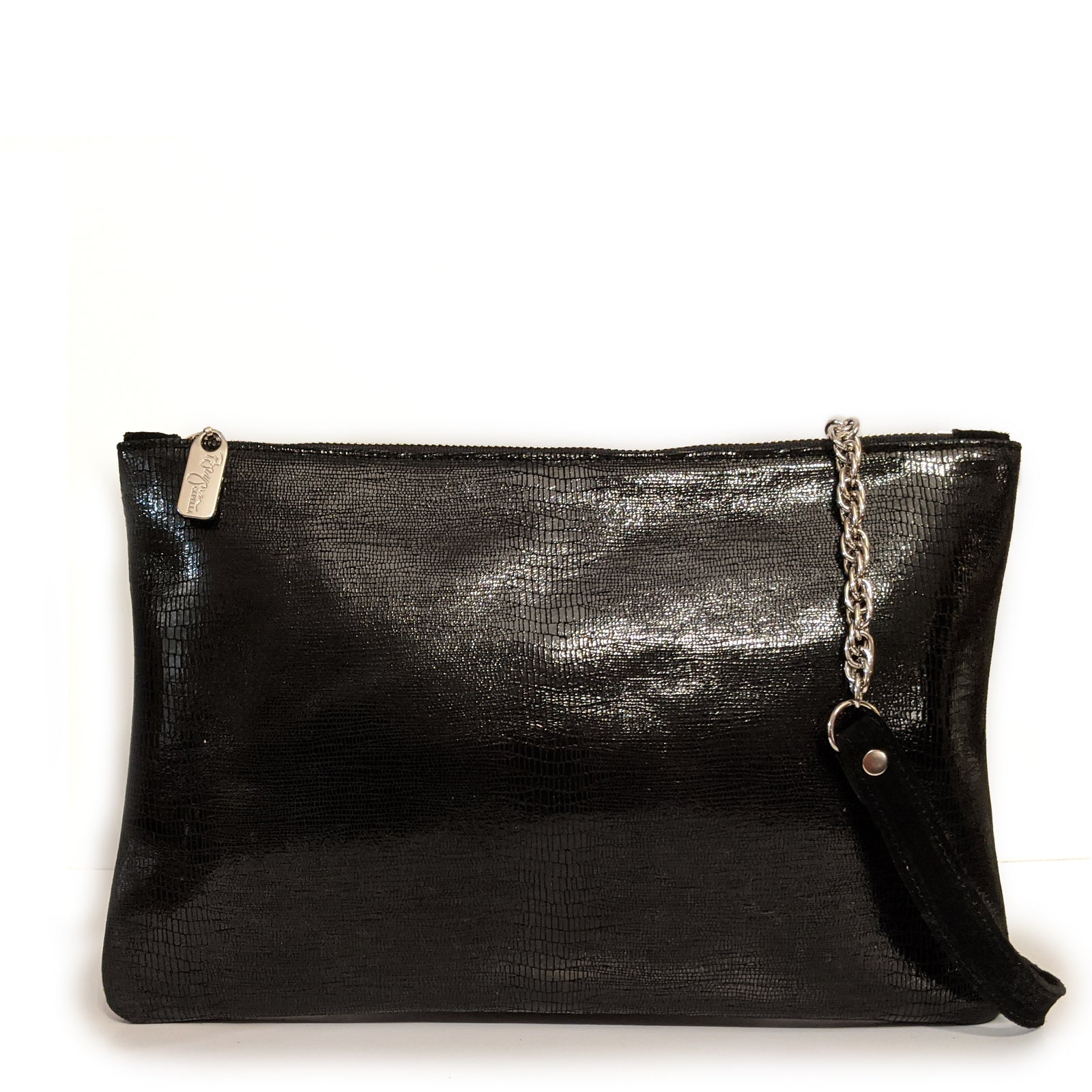 Nikki Clutch/Crossbody - Black Lizard