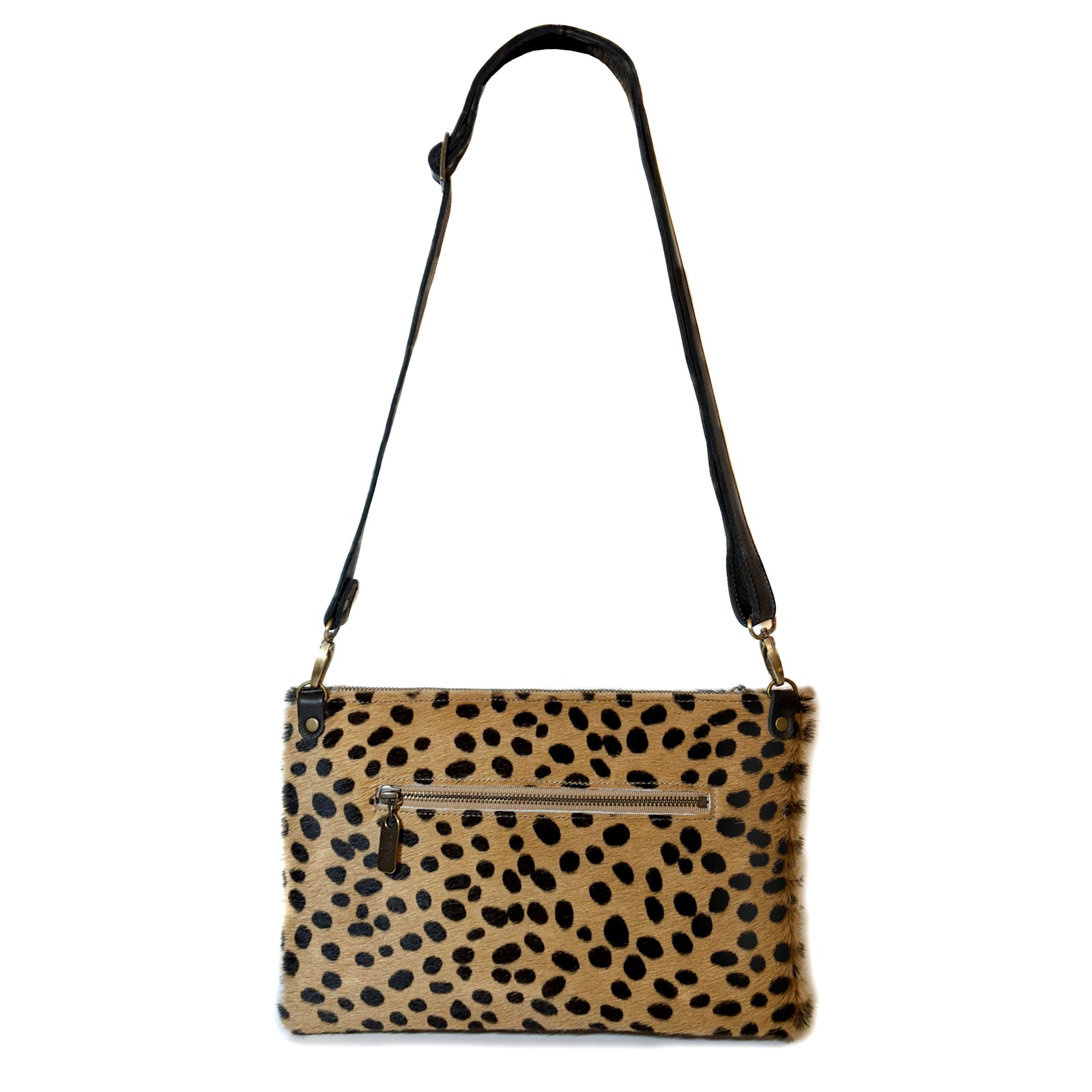 Cheetah Hairon S/M Crossbody, Clutch, back view, Made in the USA